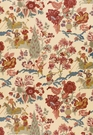 SCHUMACHER PERSIAN LANCERS FLORAL BIRDS HORSES LINEN FABRIC DOCUMENT