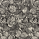 SCHUMACHER SEASHELLS INDOOR / OUTDOOR FABRIC BLACK