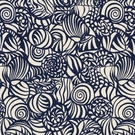 SCHUMACHER SEASHELLS INDOOR / OUTDOOR FABRIC NAVY