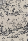 SCHUMACHER SHENGYOU TOILE LINEN FABRIC CHARCOAL