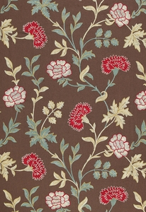 SCHUMACHER SHERIDAN LINEN EMBROIDERY FABRIC CRIMSON