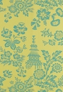 SCHUMACHER SONG GARDEN CHINOISERIE TOILE FABRIC CHARTREUSE