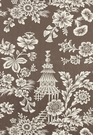 SCHUMACHER SONG GARDEN CHINOISERIE TOILE FABRIC COCOA