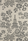 SCHUMACHER SONG GARDEN CHINOISERIE TOILE FABRIC GREIGE