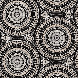 SCHUMACHER  ETHNIC BOHO SUZANI MEDALLIONS EMBROIDERED LINEN FABRIC BLACK