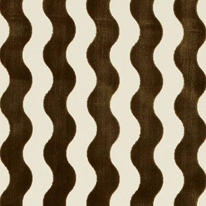 SCHUMACHER THE WAVE CUT VELVET FABRIC CHOCOLATE