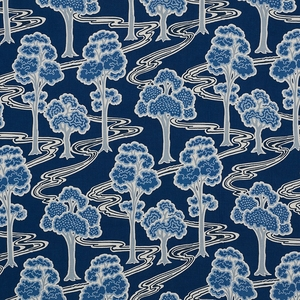 SCHUMACHER TREE RIVER LINEN FABRIC BLUE