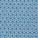 SCHUMACHER TUMBLING BLOCKS GEOMETRIC FABRIC COBALT