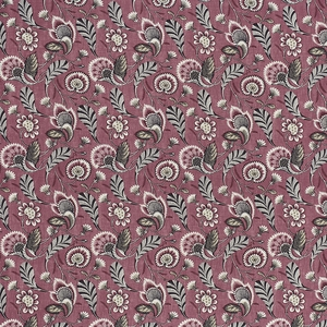 SCHUMACHER URSULA EMBROIDERED LINEN FABRIC MULBERRY