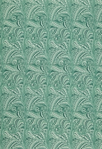 SCHUMACHER VERONA MARBELIZED COTTON FABRIC VIRIDIAN