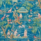 SCHUMACHER YANGTZE RIVER LINEN FABRIC PEACOCK