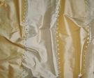 SILK LOOM ADELINA EMBROIDERED SILK STRIPES FABRIC FRENCH VANILLA GOLD