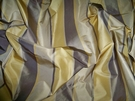 SILK LOOM AVANGARD STRIPE SILK TAFFETA FABRIC TAUPE GOLD CREAM 30 YARD BOLT
