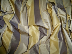 SILK LOOM AVANGARD STRIPE SILK TAFFETA FABRIC TAUPE GOLD CREAM