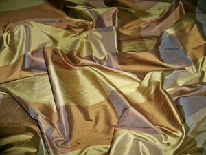 SILK LOOM CARLTON IRIDESCENT SILK CHECK FABRIC GOLD BRONZE BROWN