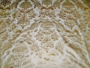SILK LOOM FORTUNY STYLE VENETIAN PRINTED SILK FABRIC CREAM GOLD