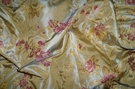 SILK LOOM FRENCH ROMANTIQUE SILK DAMASK BROCADE FABRIC GOLD ROSE PINK
