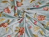 SILK LOOM GALEENA EMBROIDERED FLORAL SILK FABRIC 30 YARD BOLT BLUE OYSTER RED GREEN