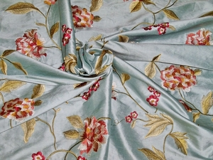 SILK LOOM GALEENA EMBROIDERED FLORAL SILK FABRIC  BLUE OYSTER RED GREEN