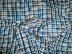 SILK LOOM INC BONNEVILLE CHECK PLAID SILK TAFFETA FABRIC BLUE WHITE