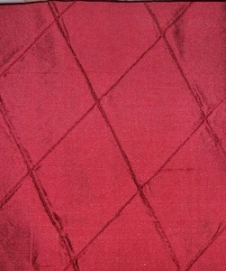 SILK LOOM INC EDINA EMBROIDERED DIAMONDS HARLEQUIN SILK FABRIC LACQUER RED
