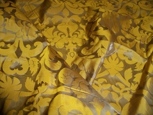 SILK LOOM INC MARSEILLE SILK DAMASK FABRIC HONEY BRONZE ON TAUPE BROWN