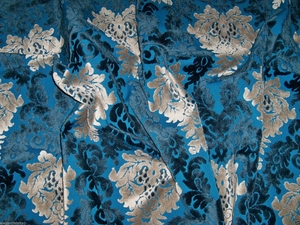 SILK LOOM OPULENCE CUT VELVET DAMASK FABRIC 10 YARDS