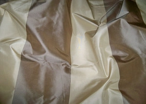 SILK LOOM LAUDERHILL STRIPE SILK TAFFETA FABRIC TAUPE CREAM