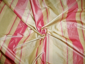 SILK LOOM PRIMAVERA STRIPES SILK TAFFETA FABRIC ROSE PINK PEACH CELADON