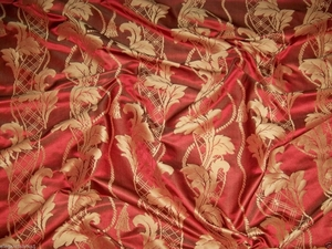 STROHEIM NEOCLASSICAL EMPIRE ACANTHUS TASSELS STRIE SILK DAMASK FABRIC 50 YARD BOLT RUBY