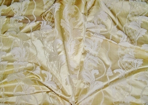 STROHEIM NEOCLASSICAL EMPIRE ACANTHUS TASSELS STRIE SILK DAMASK FABRIC CHIFFON OPAL 10 YARDS