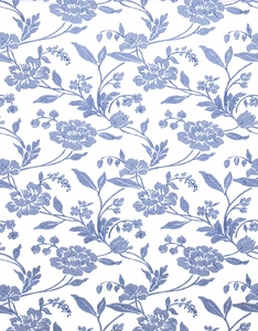 STROHEIM  EVI'S DREAM EMBROIDERED SILK LINEN FABRIC BLUE