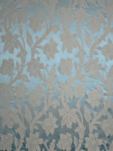 STROHEIM GREER POLY SILK DAMASK   FABRIC DAZZLING TEAL