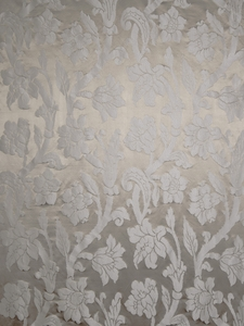 STROHEIM GREER POLY SILK DAMASK FABRIC LATTE