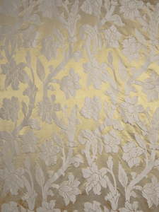 STROHEIM GREER  POLY SILK DAMASK FABRIC SUMMER GOLD