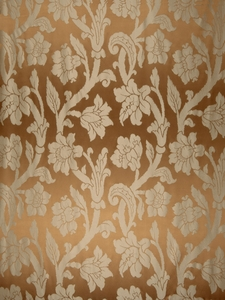 STROHEIM GREER POLY SILK DAMASK  FABRIC TOASTED COCONU