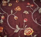 STROHEIM HARLOW FLORAL EMBROIDERED SILK FABRIC BROWN GOLD PERSIMMONS