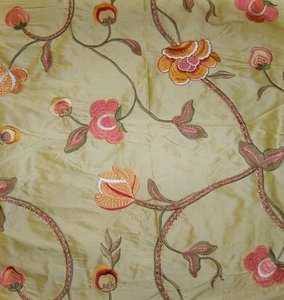 STROHEIM HARLOW FLORAL EMBROIDERED SILK FABRIC GOLD PINK MELON