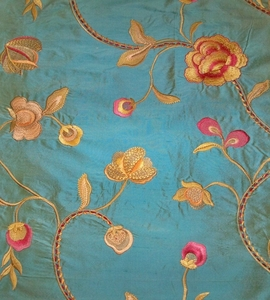 STROHEIM HARLOW FLORAL EMBROIDERY SILK FABRIC PACIFIC BLUE
