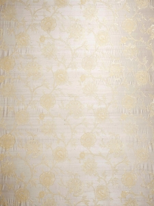 STROHEIM JARDIN DE LIEN EMBROIDERED SILK FABRIC IVORY
