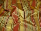STROHEIM LANGSTON STRIPES SILK TAFFETA FABRIC 30 YARD BOLT CINNABAR GOLDENROD GREEN
