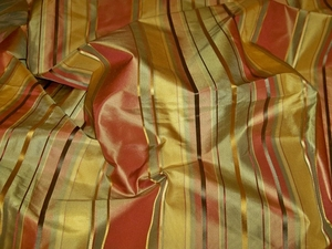 STROHEIM LANGSTON STRIPES SILK TAFFETA FABRIC CINNABAR GOLDENROD GREEN