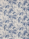 STROHEIM MEADOW LARKS PRINTED LINEN FABRIC CHINA BLUE