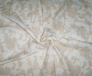 STROHEIM & ROMAN ANDROS EMBROIDERED ACANTHUS JACOBEAM LINEN FABRIC WHITE CREAM