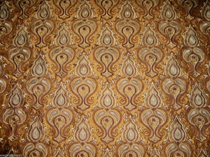 STROHEIM & ROMANN CHATELET EMBROIDERED SILK FABRIC 10 YARDS BRONZE BROWN GOLD