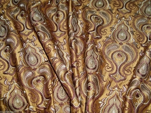 STROHEIM & ROMANN CHATELET EMBROIDERED SILK FABRIC 9.5 YARDS BRONZE BROWN GOLD