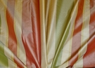 STROHEIM & ROMANN CHELSEA STRIPES SILK TAFFETA FABRIC 7 YARDS ROSE CREAM GREEN