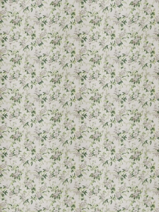 STROHEIM & ROMANN CHINTZ PRINTED FLORAL LINEN FABRIC GREEN GREY