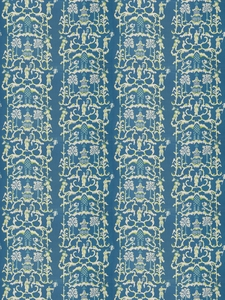 STROHEIM & ROMANN FOLLY ETHNIC CHINOSERIE LINEN FABRIC PEACOCK