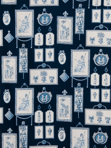STROHEIM & ROMANN FRENCH NEOCLASSICAL TOILE FABRIC 10 YARDS DARK BLUE WHITE